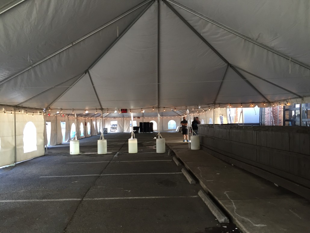 Outdoor Tent with White Barrel Rental Charlotte NC